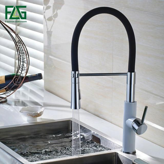 US $73.77 40% OFF|FLG Englisch Stil Küche Wasserhahn Weiß & Chrome All  Around Drehen Swivel 2 Funktion Wasser Outlet Pull Out Sink mischbatterie  ...