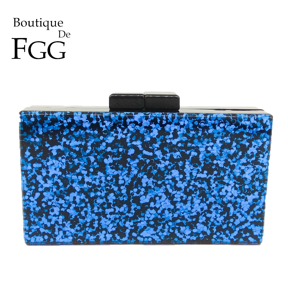 Boutique De FGG Blue Glitter Women Fashion Acrylic Evening Handbags Box Clutch Hard Case Ladies Casual Chain Crossbody Bag big silver glitter cherise resin clutch bag acrylic glitter clutch bags fashion women flap shoulder messenger acrylic box clutch