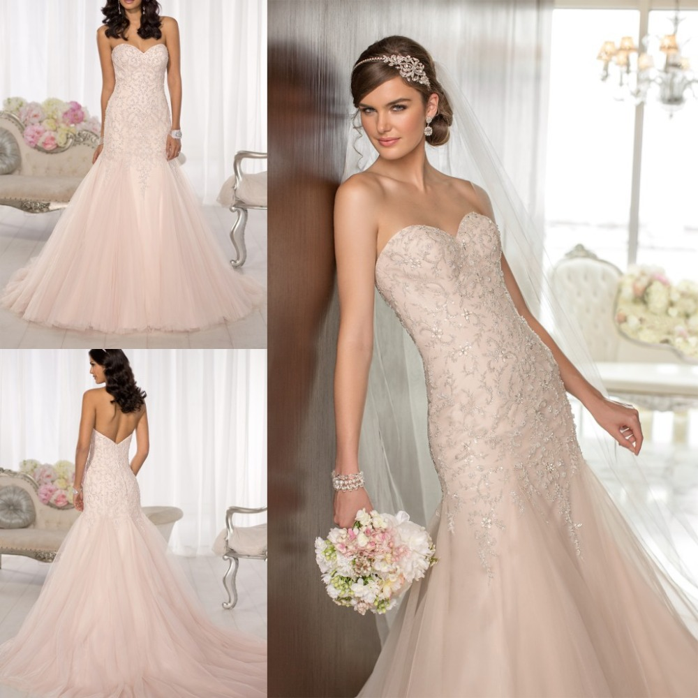 5a419be00f251 luxury 2016 strapless sweetheart neck mermaid tulle beaded bridal gown  court train custom made peach wedding