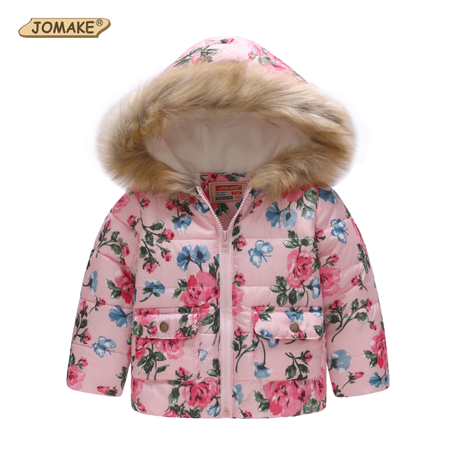 175aad5f4 Kids Winter Jackets For Girls Fashion Floral Printed Girls Parkas ...