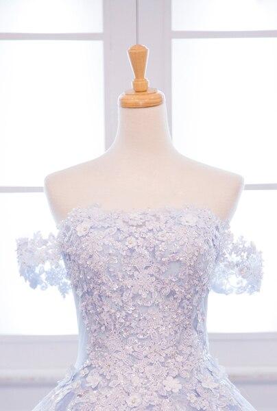 Sky Blue flowers Beaded Prom Dresses 2019 Vestido De Festa Longo Plus Size Evening Dresses Elegant Long Prom Party