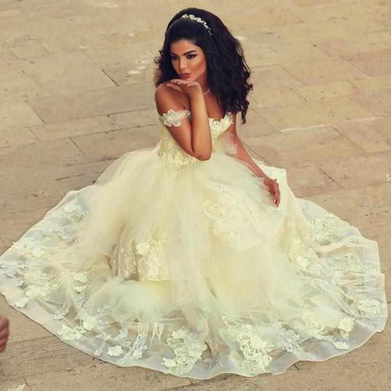 2281567ea63 ... robe de mariage Luxury Arabic Princess Light Yellow Wedding Dresses  Bridal dress Ball Gowns 2017 Vestido ...