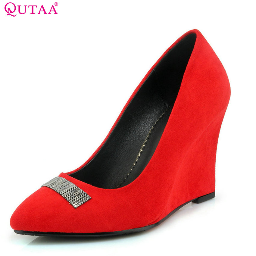 QUTAA 2018 Wedges Heel Fashion Women Pumps Pointed Toe Spring and Autumn Elegent Wedding Shoes Ladies Pumps Szie 33-42 qutaa 2018 women pumps lace up platform women shoes round toe wedges heel spring autumn fashion ladies pumps szie 34 42