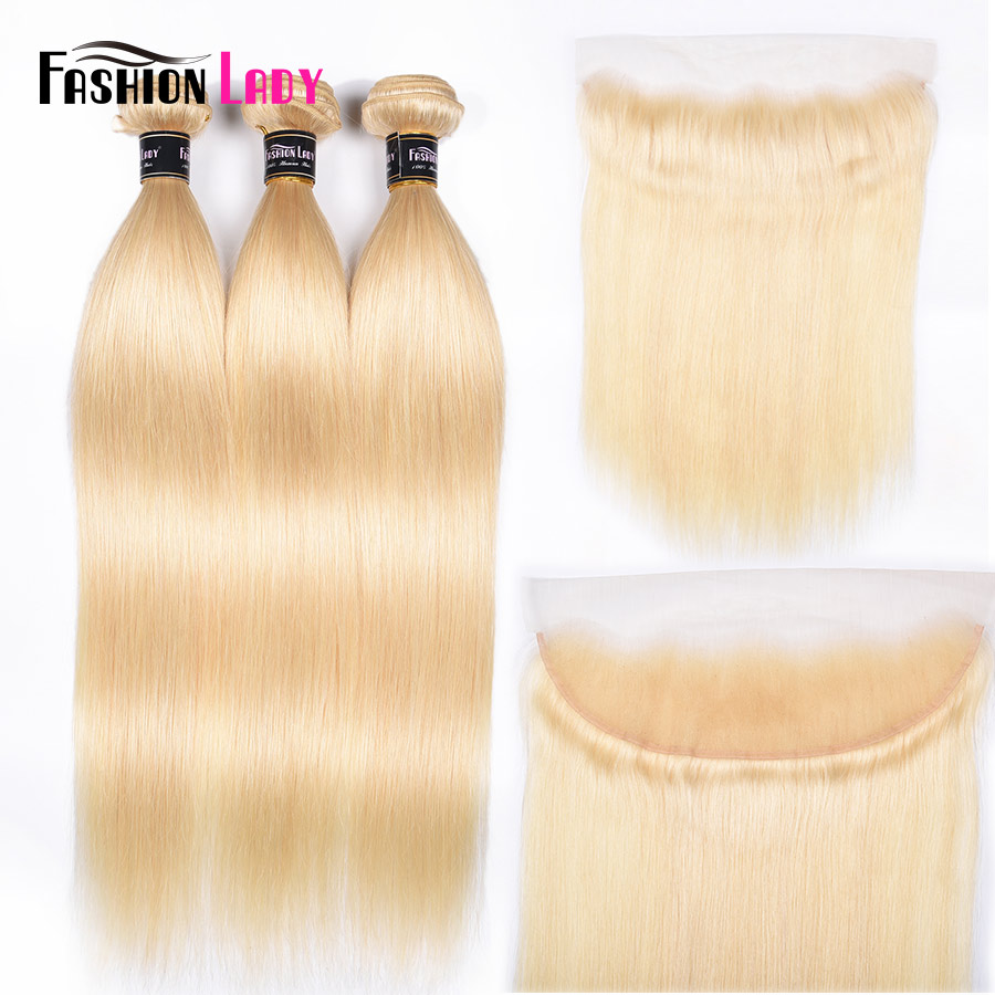 Fashion Lady Brazilian Remy Hair Platinum Blonde Hair Bundles With Frtonal 100% Human Hair Straight With Lace Frontal Closure