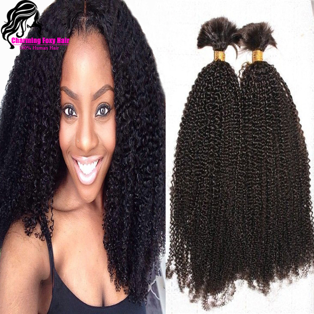 Top Quality Brazilian Human Hair Afro Curly Bulk For Braiding Unprocessed