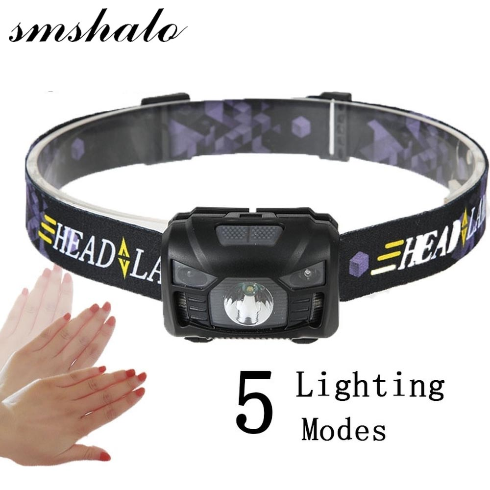 Body Motion Sensor Headlamp Induction 3*AAA Battery Headlight 2 Switch Modes Head Flashlight Torch lamp For Camping