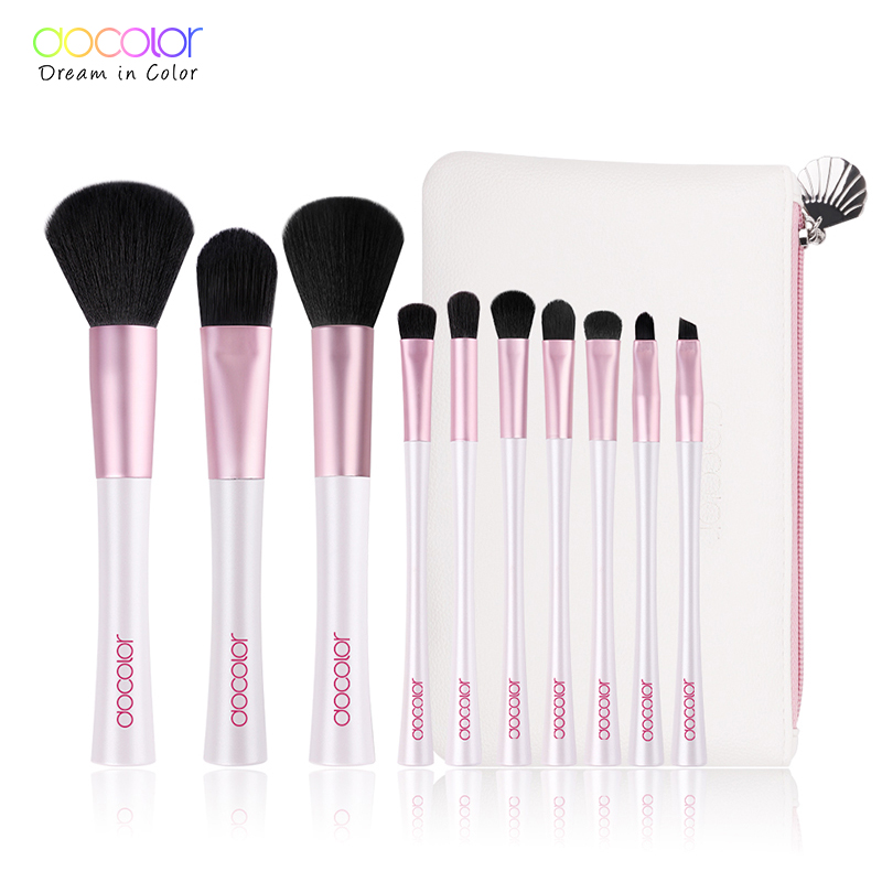 Docolor 10pcs Mermaid Brushes with Bag Professional White and Pink Makeup Brush set Top Synthetic Hair Beauty Essentials Brush цена