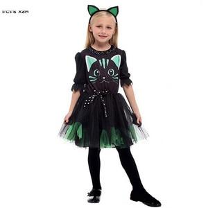 Image 2 - Kızlar cadılar bayramı Kitty kostüm çocuk çocuk kedi catwoman hayvan Cosplay karnaval Purim Masquerade sahne oyun parti elbise