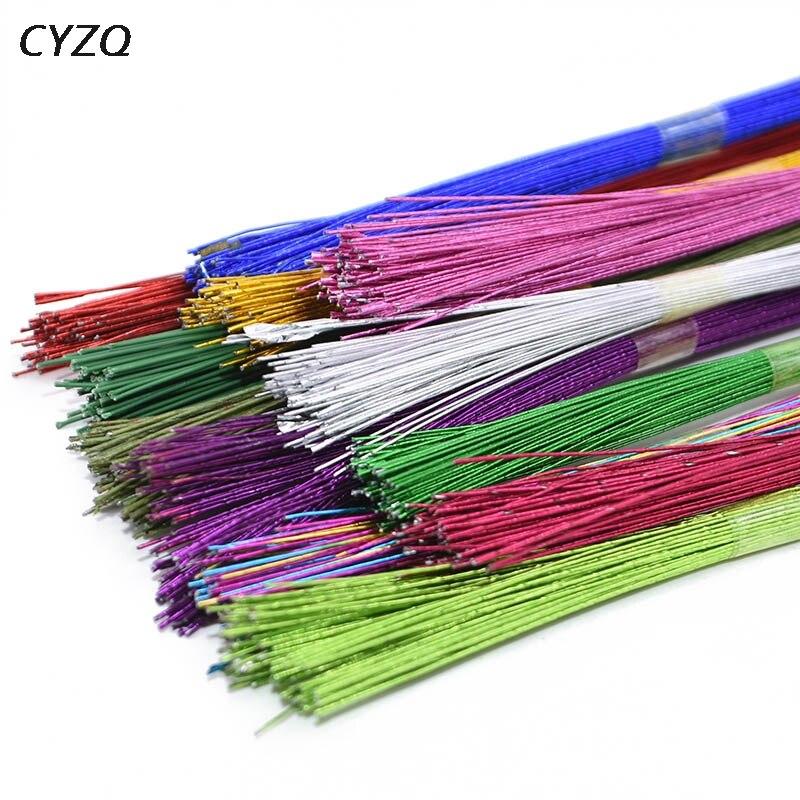 25 шт./лот, чулок, цветочный провод #26, бумажный провод, широко используемый, железный провод для DIY, нейлоновый чулок, цветочный материал, аксе...