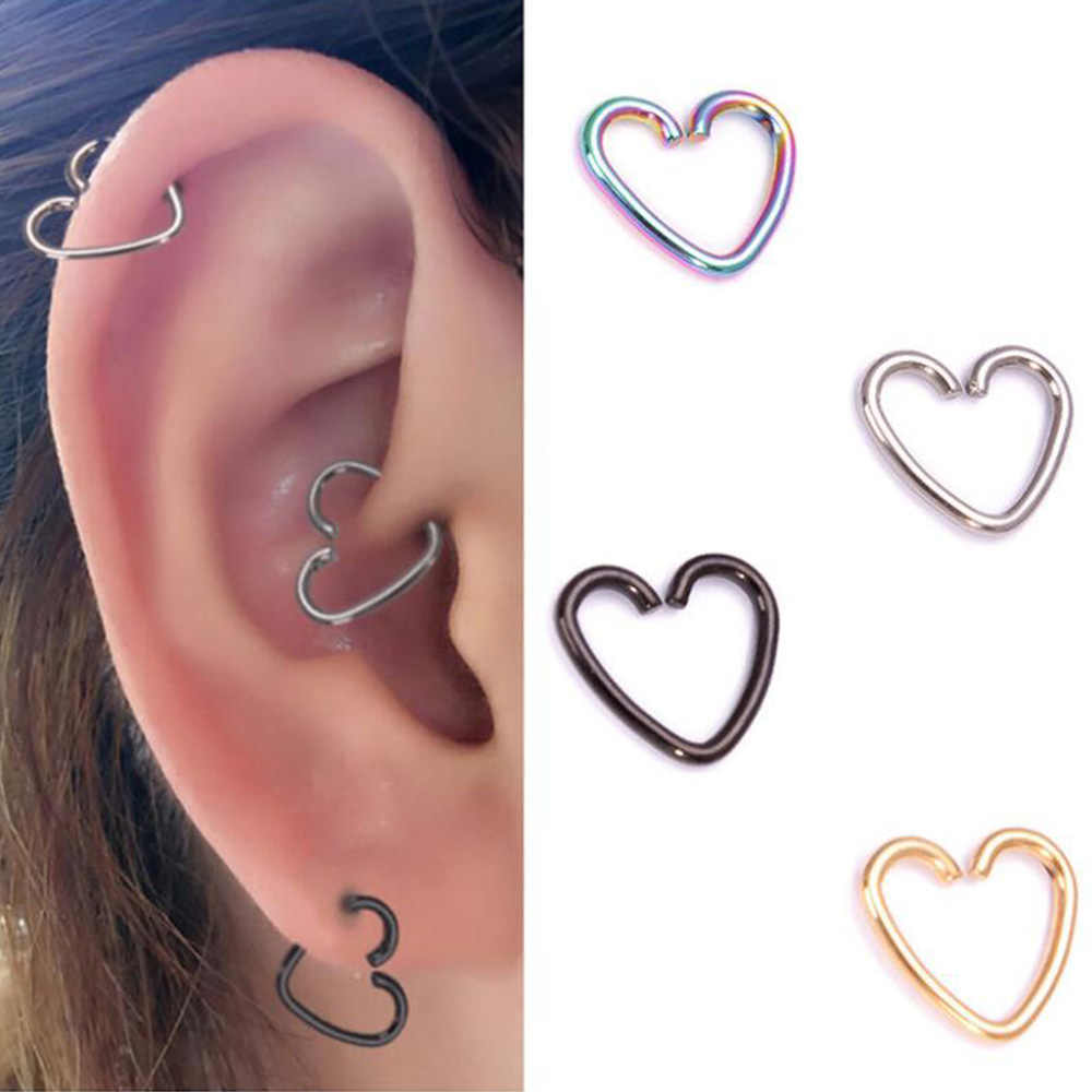 Surgical Steel Daith Heart Ring Cartilage Tragus Piercings Hoop Lip Nose Rings Orbital Ear Stud Helix Jewelry 2pcs Body Jewelry