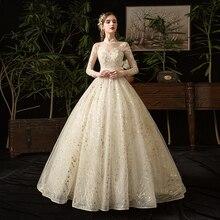 Mrs Win 골드 레이스 이슬람 웨딩 드레스 2020 새로운 높은 목 풀 슬리브 웨딩 드레스 빈티지 신부 가운 Vestido De Noiva X