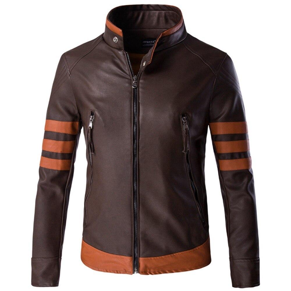 Autumn Winter Leather Jacket Men Cosplay X Men James Logan Howlett PU Motorcycle Suede Jacket Male