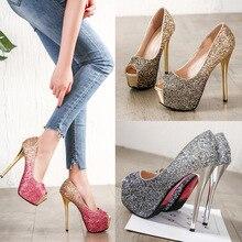 цена на Sexy Wedding High Heel Pumps Luxury Desginer 2019 Women's Shoes Thin Heels Bling Platform Open Toe Party Night Club Shoes Summer