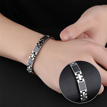 Misheng New Mens Stainless Steel Black 20cm Bracelet Magnet Fiber Geometry Cross Temperament Gift Wrist Jewelry Accessories 9mm
