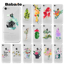 Babaite Cartoon Green Flowers Customer High Quality Phone Case for iPhone 8 7 6 6S Plus 5 5S SE XR X XS MAX Coque Shell osram p vip 190w 0 8 e20 8 original bare p vip 190 0 8 e20 8 projector lamp bulb p vip 190 0 8 e20 8