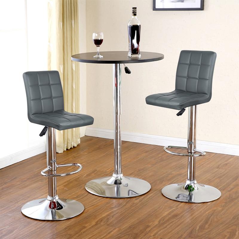 JEOBEST 2PCS/Set 9 Grid Black/black Grey PU Leather Swivel Bar Stools Chairs Height Adjustable Counter Pub Chair FreeShip HWC