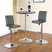 JEOBEST 2PCS/Set 9 Grid Black/black Grey PU Leather Swivel Bar Stools Chairs Height Adjustable Counter Pub Chair FreeShip HWC(China)