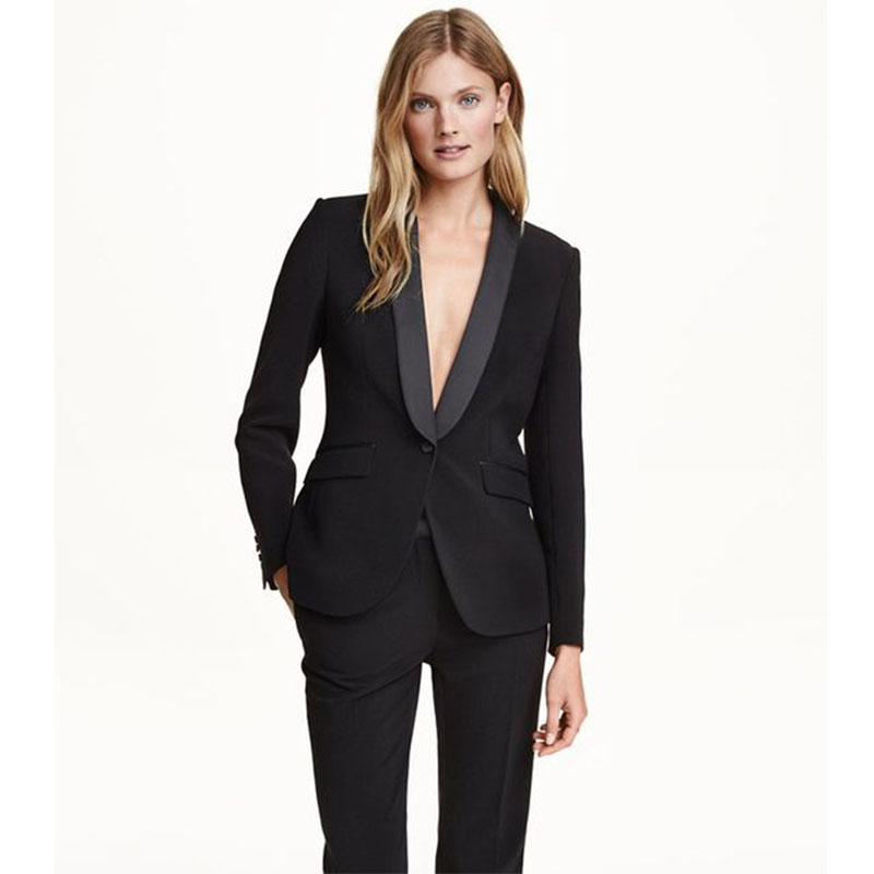 18affaf909993 Black pant suits for women business suit 2 piece set ladies office uniform  formal female trouser suit women tuxedo (Jacket+Pant)
