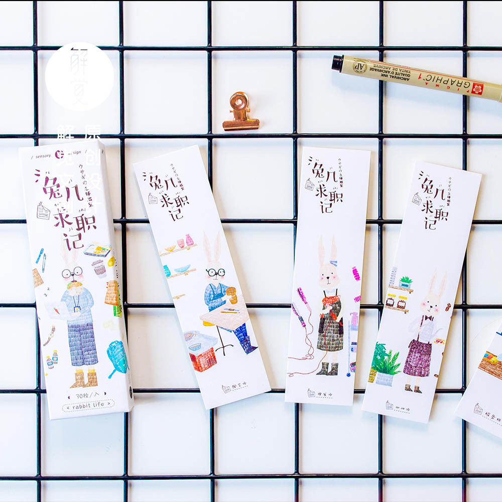 30pcspack Cute Rabbit Bookmark Paper Bookmarkers Promotional Gift Stationery Free Bookmarks For Books Book Marks