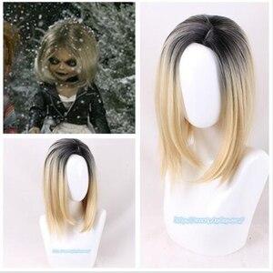 Halloween mariée de mandrky femmes Tiffany blonde omber noir perruque jeu de rôle Jennifer Tilly cosplay milieu séparation cheveux + perruque cap