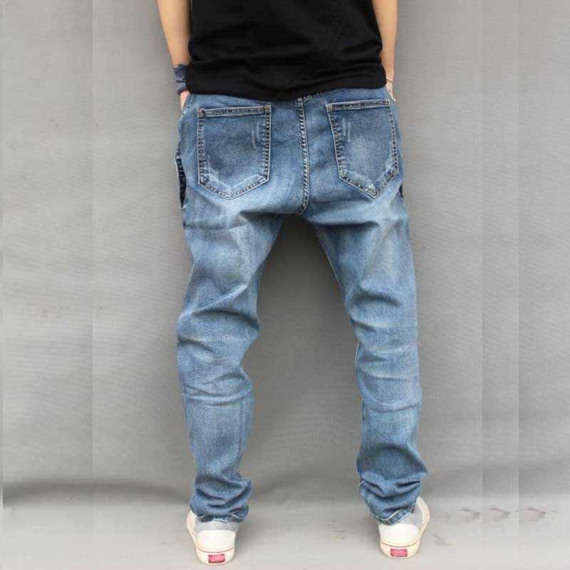 6e4f890bfed ... Йохан Для мужчин Мешковатые шаровары джинсы стрейч большого размера  джинсы Для мужчин с кнопками свободные хип ...