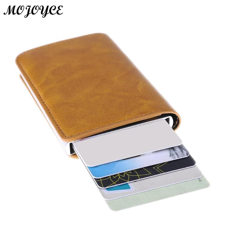 Metal Men Card Holder RFID Aluminium Alloy Credit Card Holder PU Leather Wallet AntiThef ...