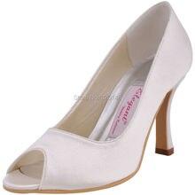 Frau Schuhe EP11017 Elfenbein Größe 8 Peep Toe High Heel Satin Braut Brautjungfern Hochzeit Brautschuhe Kleid Prom Formal Pumpen