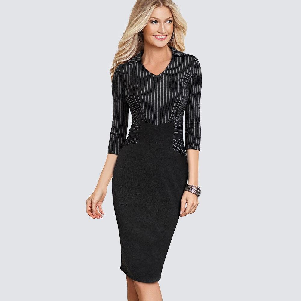 b6dadd463 Las mujeres ropa de moda Oficina de trabajo Casual vestido de rayas Vintage  una pieza vaina Bodycon carrera lápiz Iglesia vestido HB479