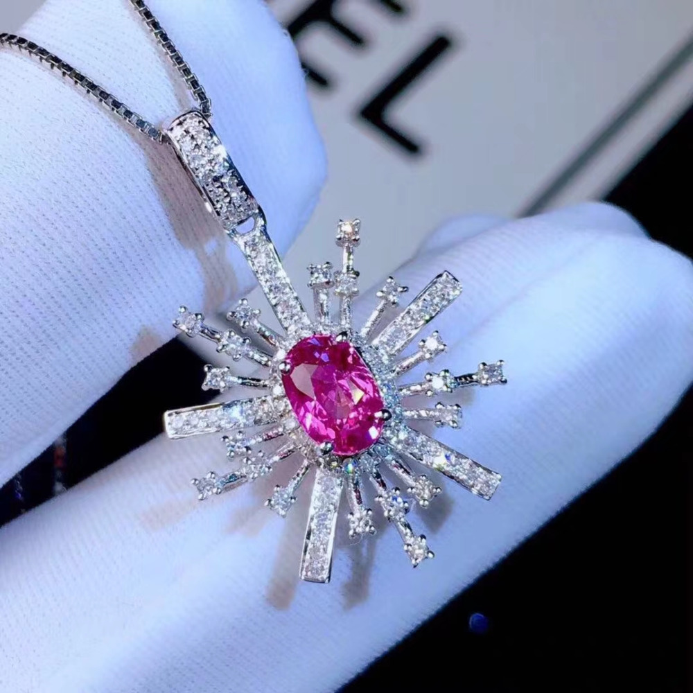 Natural red tourmaline pendant S925 silver Natural gemstone Pendant Necklace Lovely flower Talonpaw women party gift jewelryNatural red tourmaline pendant S925 silver Natural gemstone Pendant Necklace Lovely flower Talonpaw women party gift jewelry