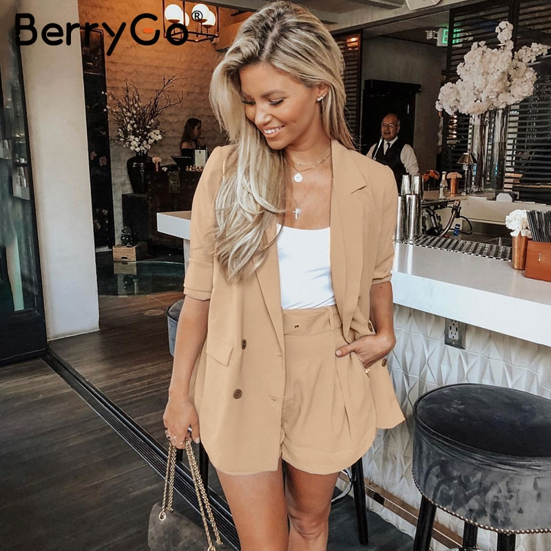 BerryGo Double Breasted Women Blazer Long Sleeve Chic Office Ladies Business Suit Casual Streetwear Female Blazer Suit Coats