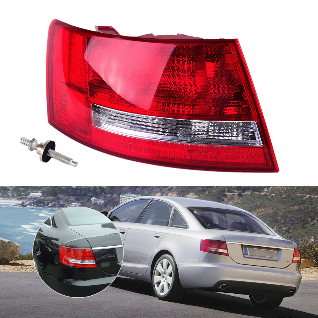 DWCX Rear Tail Left Light Taillight Assembly Lamp Housing without Bulb 4F5 945 095 L for Audi A6 /A6 Quattro Sedan 2005 2006 -08 taillight dongfeng for peugeot 408 2013 taillight rear light tail lamp assembly tail lights