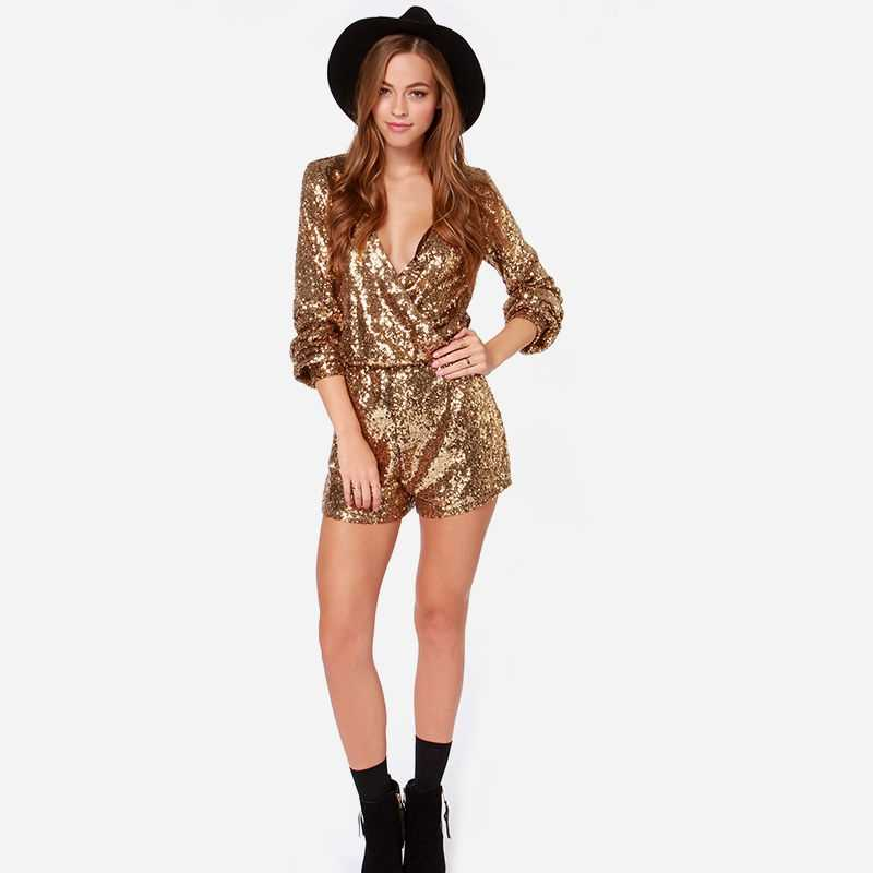 a65436dc7b8 ... HDY Haoduoyi Golden Sequin Wrap Long Sleeve Romper Winter Autumn Women  Rompers Jumpsuits Low Cut V