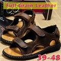 Grande Tamanho 39 47 Sandálias de Verão 48 Retro Dos Homens 2016 Novo moda Completa de Grãos de Couro Sandálias de Praia Sapatos Extrawide e Gancho Loop marrom