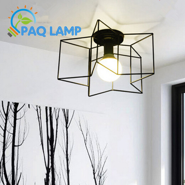 Contracted Ceiling Lamp American Country Iron Metal Star Led Light Hall Porch Walkway Lobby Bar