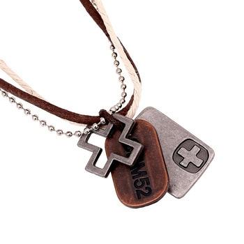 Collares de cuero con colgante de Cruz de bronce, estilo bohemio, Retro, genuino, para hombre y mujer, accesorios de joyería para hombre