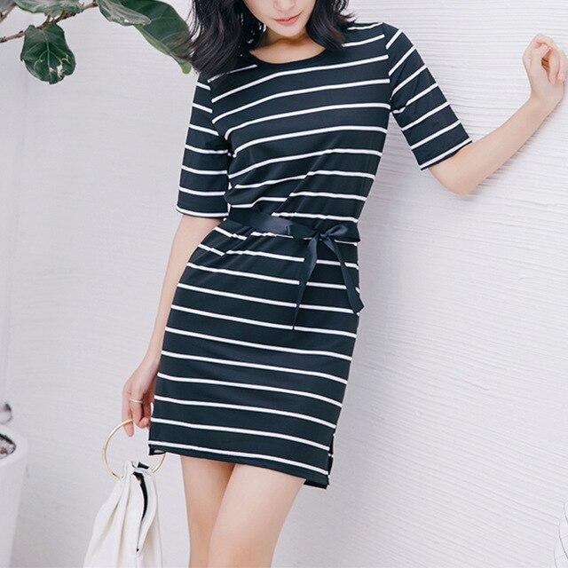 Mr.nut 2019 summer new waist side slits striped short-sleeved T-shirt dress long paragraph bottoming shirt