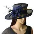 NEW 4 colours Navy blue wide brim Sinamay fascinator hat Formal dress hat for church,Races.wedding Kentucky derby.