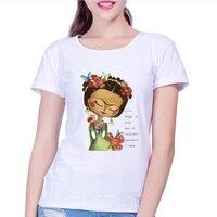 2017 new women cartoon frida kahlo print t shirt funny Personalized t shirts Casual Short-sleeved tops women's t-shirt