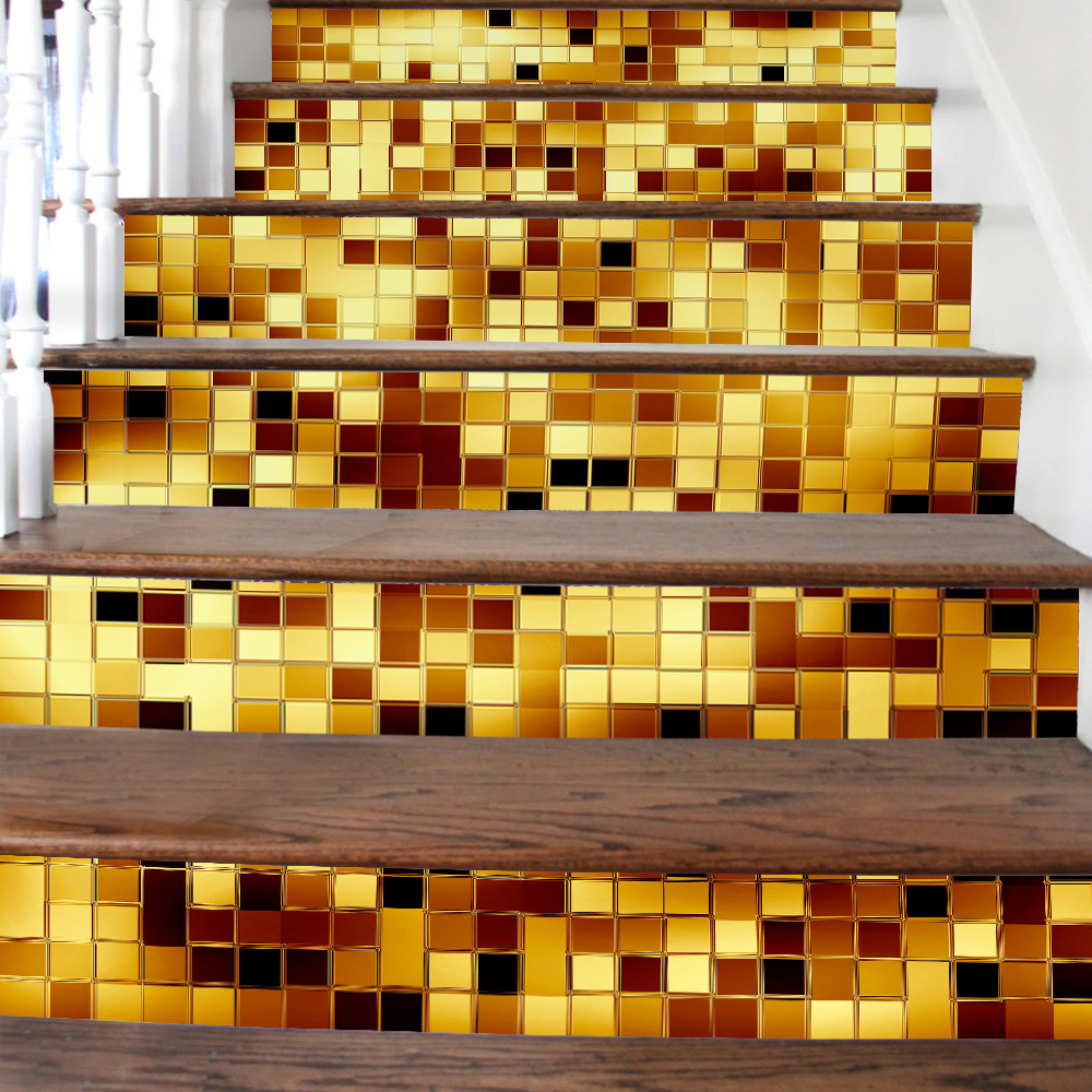 Gold Mosaic Tiles Pattern Stair Stickers Decals Kids Love Removable Waterproof Stairway Vinyl Stickers for Home Decor