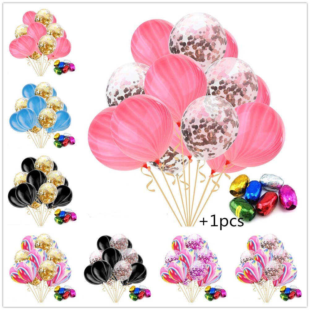 15pcs/ Pack Rainbow Color 10pcs Agate + 5 Pcs Confetti Balloon + 1pcs Random Color Ribbon Christmas Birthday Party Decorcations
