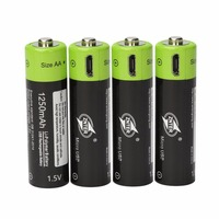 ZNTER 4PCS AA 1 5V 1250mAh USB Rechargeable Lithium Polymer Battery Quick Charging By Micro USB