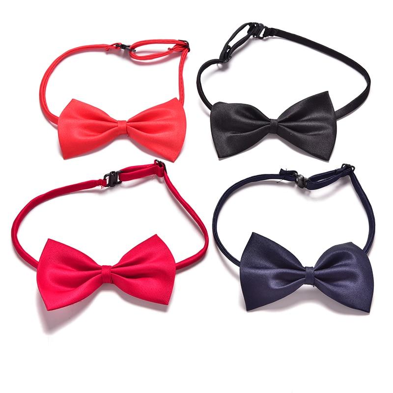 Boys Kids Adjustable Solid Bowtie Pre tied Party satin Bow Tie Wedding 1PC