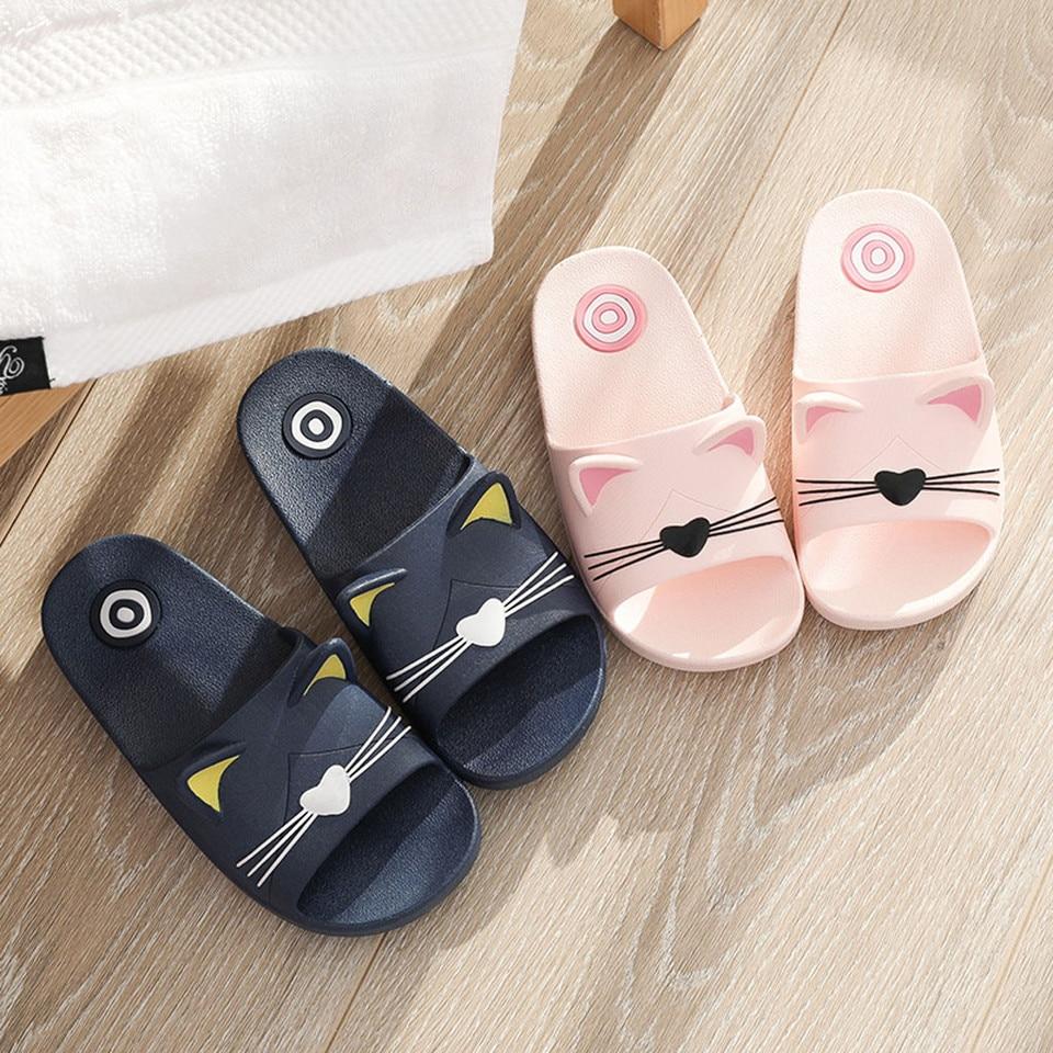 Baby Kids Girls Boys Home Slippers Cartoon Cat Floor Family Shoes Beach Sandals
