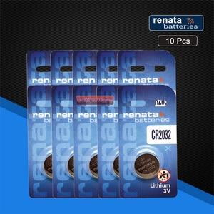 10 piezas renata CR2032 3 V 100% original nuevo para reloj con llave de coche de juguete de control remoto de alto rendimiento pila de botón