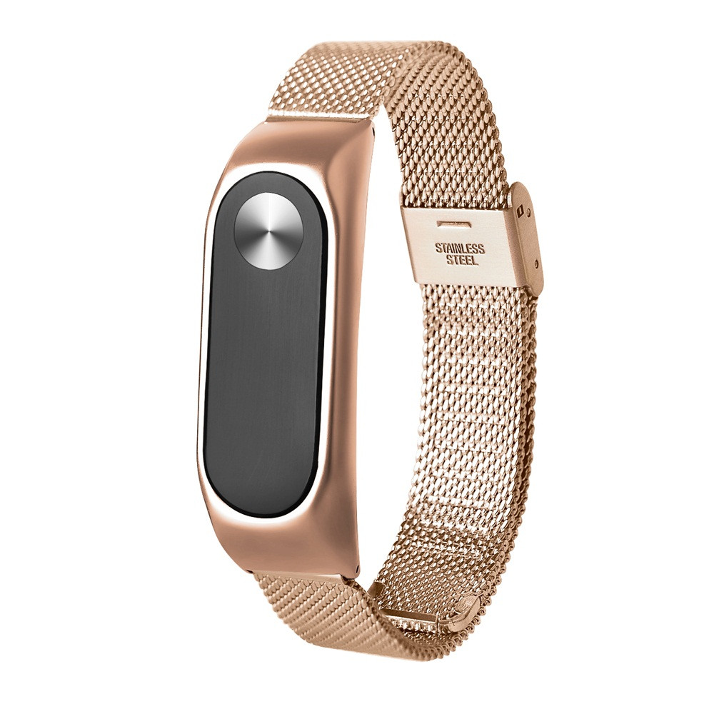 Fashion Lightweight Stainless Steel Smart Wrist Watch Strap For Xiaomi Miband 2 Rose Gold Stainless Steel High Quality DRop Ship