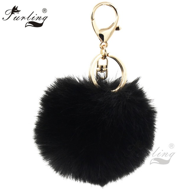 075a9bc6af Furling 1pc First Gold Plating keychain with 9CM  3.5Inch Faux Fur Pom poms  Ball