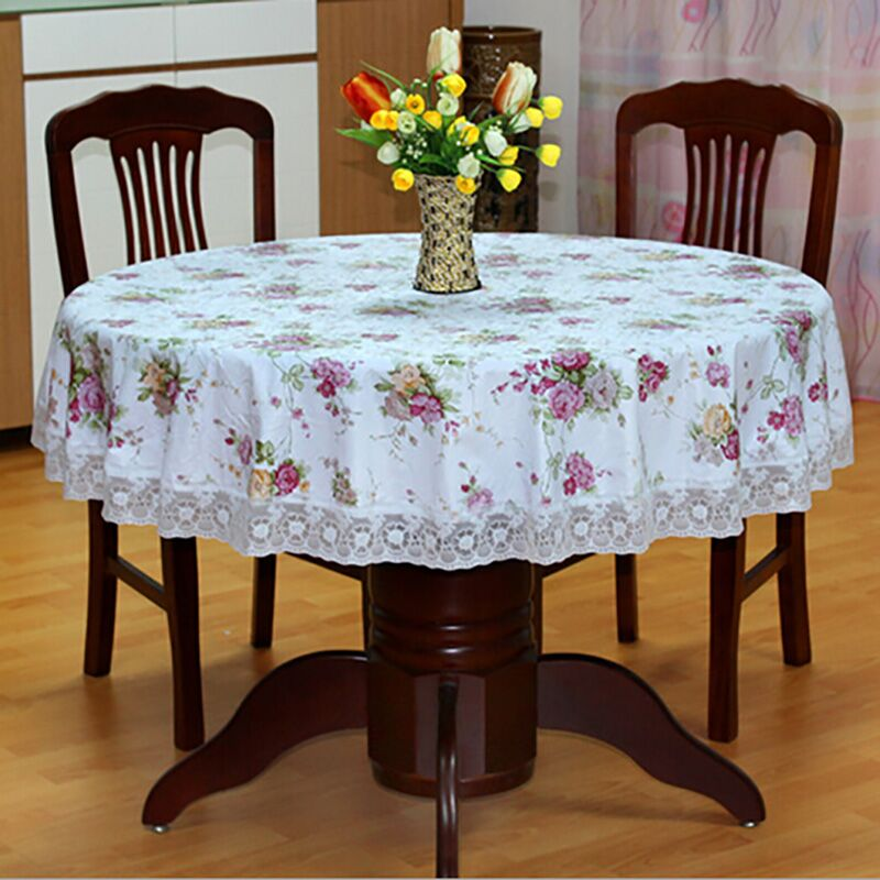 New Pastoral Style PVC Round Table Cloth Waterproof Oilproof Flower