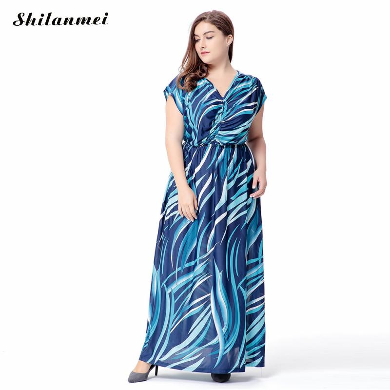 d55db6adb5f13 Plus Size 5XL 6XL Floral Print Chiffon Beach Maxi Long Dress Summer Women  Clothes Sexy V Neck Boho Wrap Tank Dress Sundress