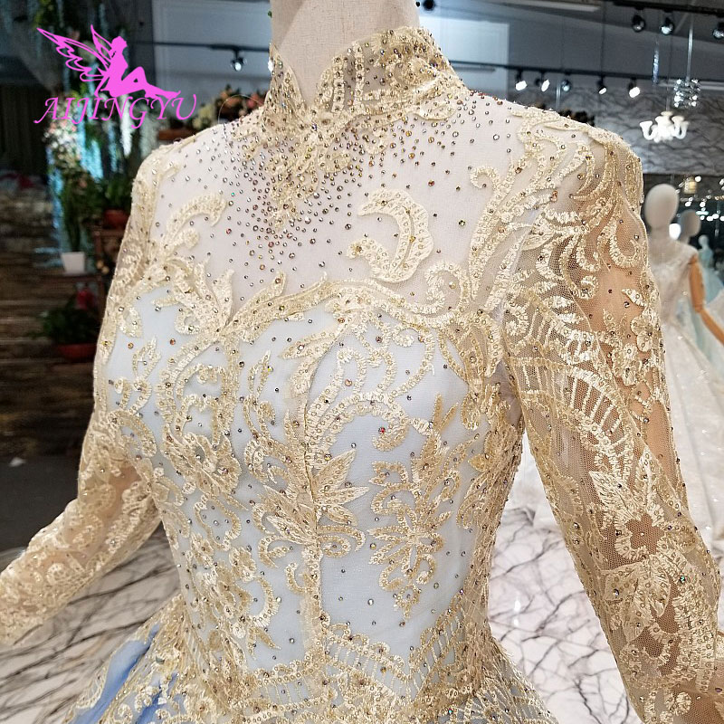 AIJINGYU Wedding Drees New Gown Sparkle Plus Size With Train Laces Bridalwear With Long Tail Dresses and Gowns Wedding Frocks