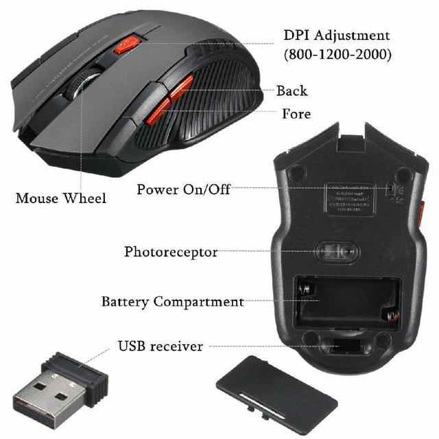 Mini ratón óptico inalámbrico para juegos, Mouse inalámbrico con receptor USB para Juegos de PC, portátiles, ordenador, r57, 2,4 GHz 6